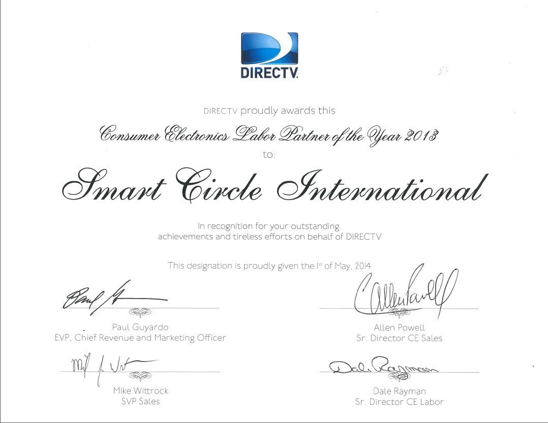 Smart Circle International Named DIRECTV 2013 Consumer Electronics Labor Partner of the Year!
